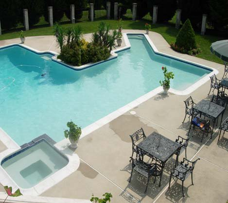 Backyard Pool with Tables