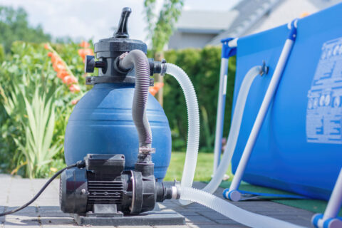 Sand filter plant at a pool in the garden Frederick, MD & Springfield, VA