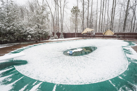 Swimming pool with cover in winter Frederick, MD & Springfield, VA